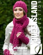 Jayne Accessories: cabled scarf, fingerless mitts, and beanie hat