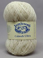 skein of Jamieson Cobweb Ultra yarn